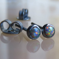 black opal stud earrings, sterling silver tiny 3mm opal stud earring, opal posts earring