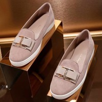 Ferragamo 2018 spring and summer new metal buckle knit flat color shoes F-ALS-XZ