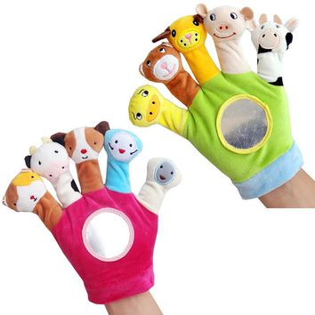 Baby rattles kids hand doll plush toy 0-1 year old baby cloth finger baby newborn baby hand gloves play cartoon boy girl toys
