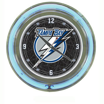 NHL Tampa Bay Lightning Neon Clock - 14 inch Diameter