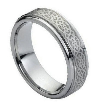 Tungsten Carbide Wicca Celtic Knot Ring 7MM