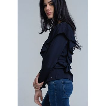 Top with ruffle detail in navy