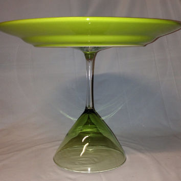 Green Martini Glass Cake Stand / Serving by RandomCraftsBySundee