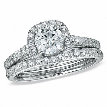 1-3/4 CT. Diamond Halo Bridal Engagement Ring Set in 14K White Gold