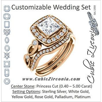 CZ Wedding Set, featuring The Madison engagement ring (Customizable Princess Cut Design with Halo and Bezel-Accented Infinity-inspired Split Band)