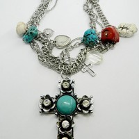 Multi Strand Silver Cross Chain Necklace Multi Chain Cross Charm  Statement Necklace