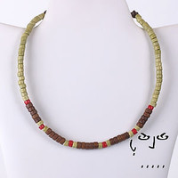 Ceramic Beads Necklace (Brown Red and Khaki)