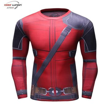 Deadpool Dead pool Taco Fun  3D Printed Men's Cosplay Costume Display Long Sleeve Compression Shirt Male Tops Halloween Costumes For Men AT_70_6