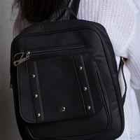 Lucky 21 Elegant Faux Leather Lightweight Backpack With Rivets - Black