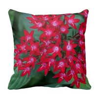Red Egyptian Star Flowers Pillow