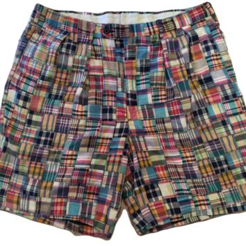 Harold Powell Pleated Shorts Madras Plaid - 38