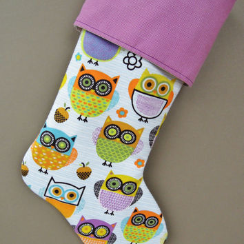 Girls Owl Christmas Stocking, Purple Owl Christmas Stocking, Whimsical Stocking, Children's Stocking, Christmas Stocking