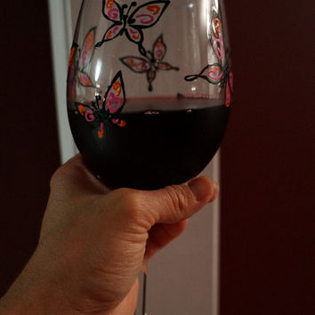Multi Color Butterflies Wine Glass -  Hand Painted Wine Glass