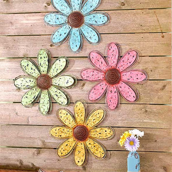 Metal Wall Flower Daisy Oversized Rustic Distressed Blue Green Pink Yellow Set