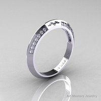 Modern French 14K White Gold Diamond Matching Wedding Band R176B-14KWGD
