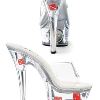 Women's 6 Inch Heel Clear Mule With Dice And Poker Chips (5,Clear)