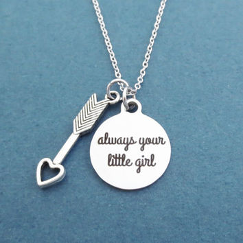 Always your little girl, Cupid's arrow, Silver, Necklace, Cupid, Love, Arrow, Jewelry, Birthday, Lovers, Friendship, Gift, Jewelry