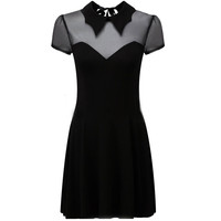 Gothic Black Bat Wings Collar Mesh Dress (Free Shipping Worldwide)