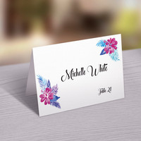 Wedding Place Card Template | Printable Name Card, Seating Card | Ms Word and Photoshop Template | Instant Download