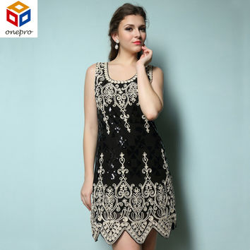 Elegant embroidery flower heart patern vintage sequined women O neck sleeveless dress great gatsby flapper party dress