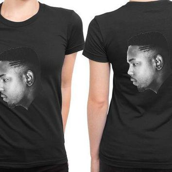 ESBP7V Kendrick Lamar Haircut Hip Hop 2 Sided Womens T Shirt