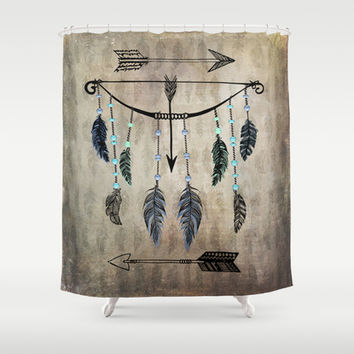 Bow, Arrow, and Feathers Shower Curtain by Naturessol