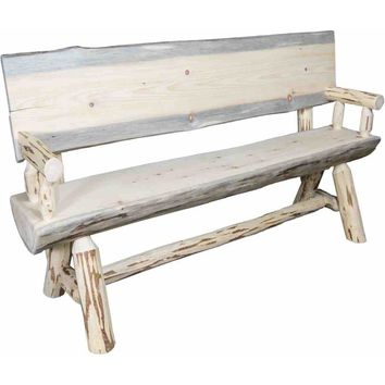 Montana Woodworks - Montana Collection Half Log Bench w/ Back & Arms, Clear Lacquer Finish