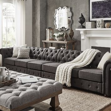 Knightsbridge Dark Grey Linen Oversize Extra Long Modular Sectional Sofa Extension by SIGNAL HILLS | Overstock.com Shopping - The Best Deals on Sectional Sofas