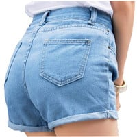 Retro high waist denim shorts female wild spring and summer loose shorts female thin curling fashion lager size jeans women
