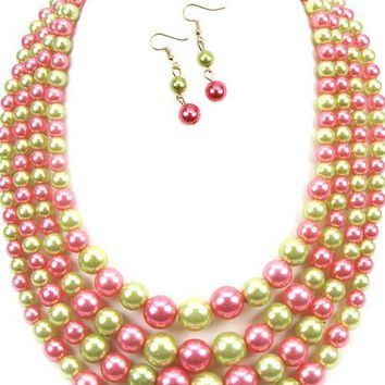 """20"""" green pink faux pearl 3 layer bib pearl necklace 2"""" earrings"""