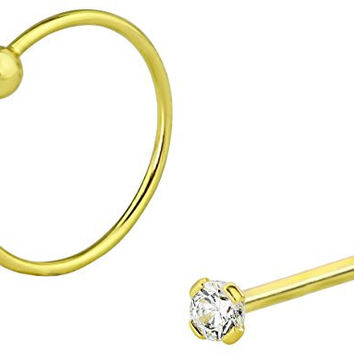 Set of 2 Styles Nose Rings: Sterling Silver Gold Plated 1.25 mm CZ Stud and 9 mm Nose Hoop