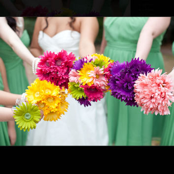 17 Piece Daisy Bridal Bouquet Wedding Bouquet Set Yellow Daisy Bouquet, Fushia Daisy Bouquet, Yellow Bouquet, Daisy Wedding