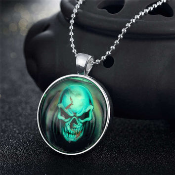 Stylish Gift New Arrival Jewelry Shiny Accessory Skull Terrible Noctilucent Necklace [8065788417]