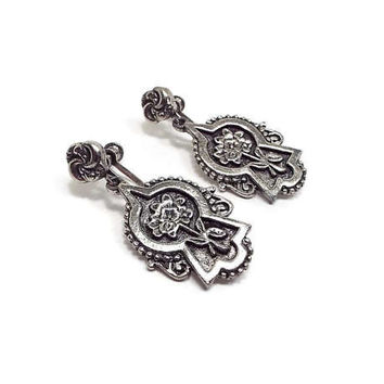 Vintage Screw Back Earrings Antiqued Silver Tone Flower Floral Jewelry Retro Spring Summer Jewelry