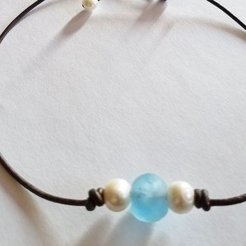 "The New ""OB"" Sea Glass and Freshwater Pearl on Leather Choker"