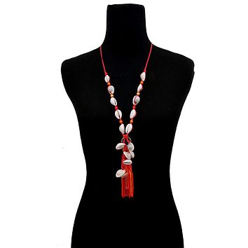 Red String and Cowrie Shell Long Tassel Necklace
