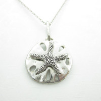 Sand Dollar Necklace, Nautical Necklace, Silver Sand Dollar, Starfish Necklace, Beach Necklace, Sea Shore Charm X027