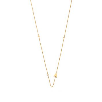 Sideway Initial Gold Necklace with CZ accents