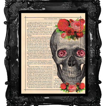 Pink and Red Roses Dictionary SKULL artwork - anatomical SKULL art print - antique book page SKULL flowers print