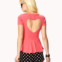 Cutout Heart Peplum Top