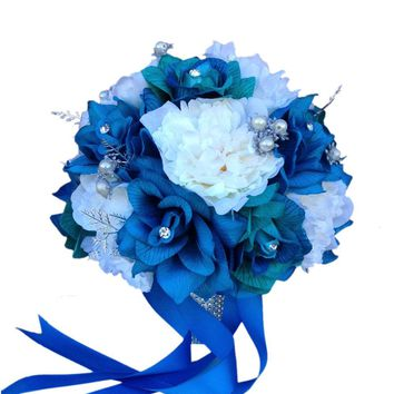10 inch Bouquet-Shades of Jade Teal Turquoise and Ivory. Rose and Peony bouquet