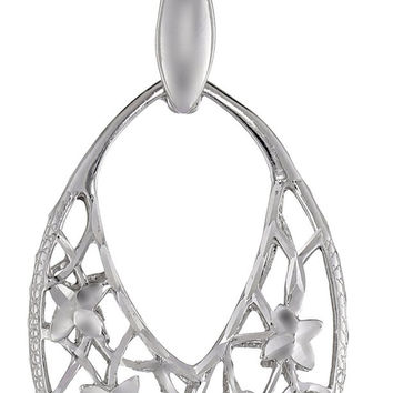 Sterling Silver Diamond Cut Marquise Filigree Pendant Necklace, 18""