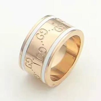 GUCCI Fashion New More Letter Women Men Ring Accessories Rose Gold
