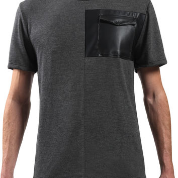 Mens Premium Faux Leather Front Pocket T Shirt