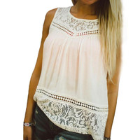 2016 XXL-XXXL Plus Size Women Clothing Summer Style Women Tops Sleeveless Chiffon Lace Loose Ladies Top Camisetas Mujer
