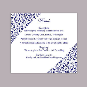 DIY Wedding Details Card Template Editable Text Word File Download Printable Details Card Navy Blue Details Card Red Information Cards