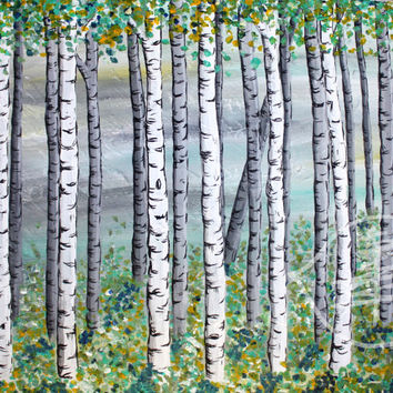 Spring painting of a birch tree forest - Aspen trees with green leaves prints