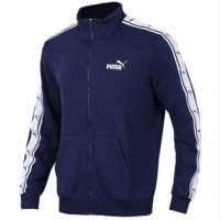 PUMA Autumn And Winter New Fashion Sleeve String Mark Print And Bust Letter Print Men Leisure Loose Long Sleeve Coat Jacket Blue