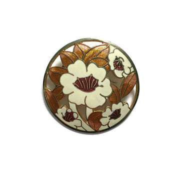 Floral Enamel Cloisonne Brooch | Vintage Brooch | Art Nouveau Style | Gift Boxed | Round Flower Brooch | Autumn Tones