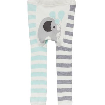 Blue Elephant Balloon Stripe Doodle Pants